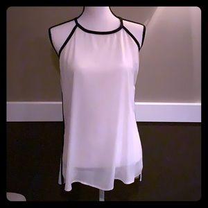 White/ Black Tank elegant flowing fabric, tie back
